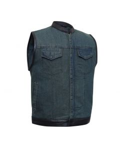 Black Denim Biker Vest with Leather Trim Plain Sides Small