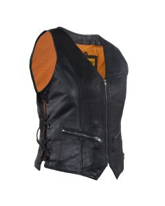 Ladies Leather Motorcycle Vest DS238 Ladies Vest Ladies Motorcycle Vest