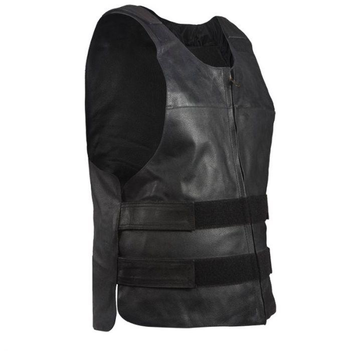 Men/'s Cowhide Leather Bike Apparel Bullet Proof Replica Motorcycle Vest
