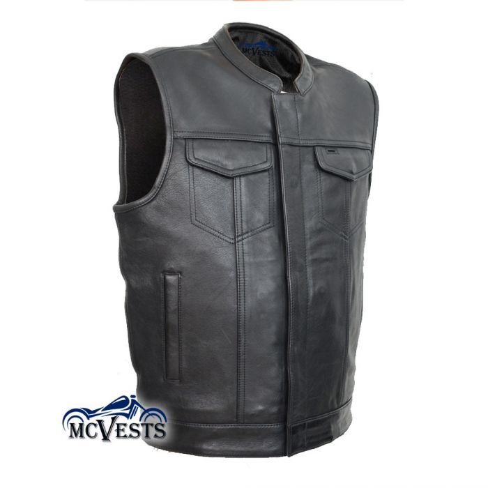 Mens Blue Denim Club Motorcycle Vest w// Snap Zipper Front Gun Pocket Club Style