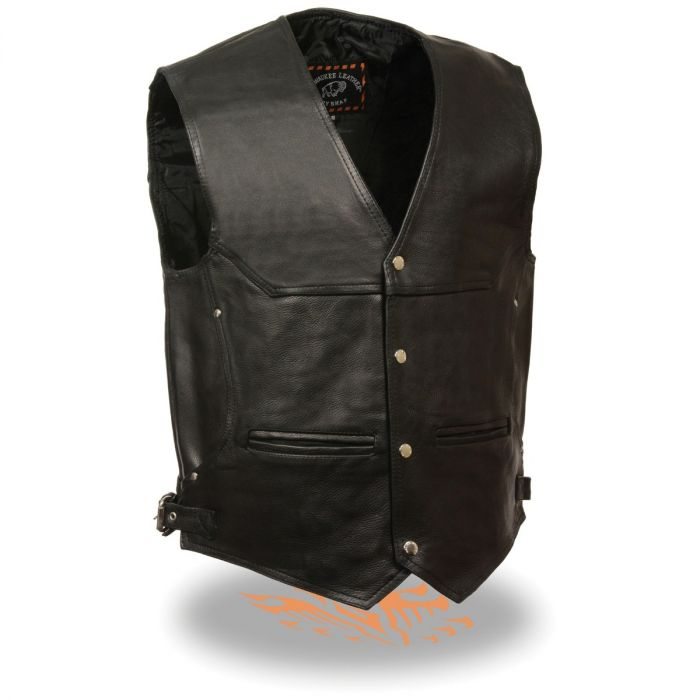 Black, Size 48 Milwaukee Mens 1.4mm Naked Cowhide Leather Laces Vest